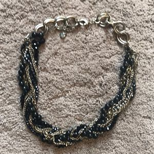 Black and gold braided short necklace